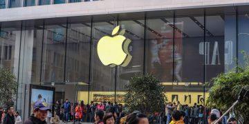 Shanghai/China -  January 24 2015: Modern Apple store in nanjing road walking street in Shang hai china