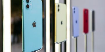 Different colored Apple Inc. iPhone 11 smartphones stand on display inside the Regent Street Apple store during a product launch event in London, U.K., on Friday, Sept. 20, 2019. Apple's new iPhones with camera enhancements and improved battery life go on sale today.