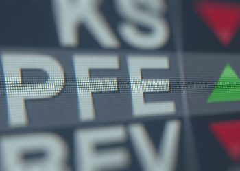 Stock ticker on the screen. Editorial 3D