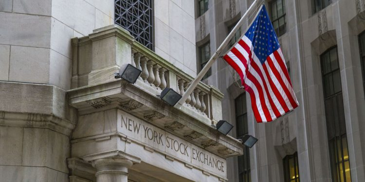 The side entrance of New York Stock Exchange, New York City.