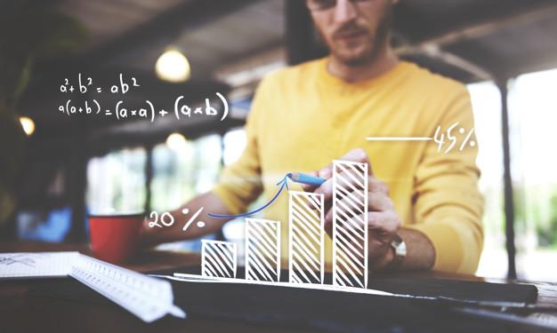 Closeup of man writing arrow up graph increase
