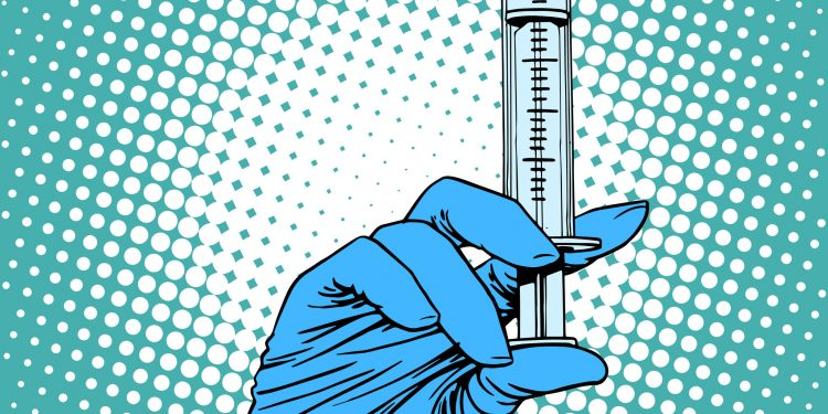 Hand with a syringe injection vaccination medicine pop art retro style
