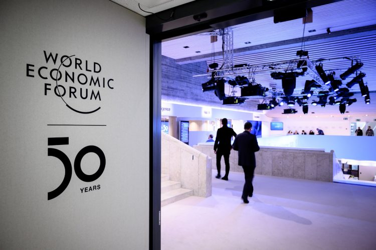 A sign of the World Economic Forum (WEF) is seen at the Congress center ahead of the WEF's annual meeting in Davos, on January 19, 2020. (Photo by Fabrice COFFRINI / AFP) (Photo by FABRICE COFFRINI/AFP via Getty Images)