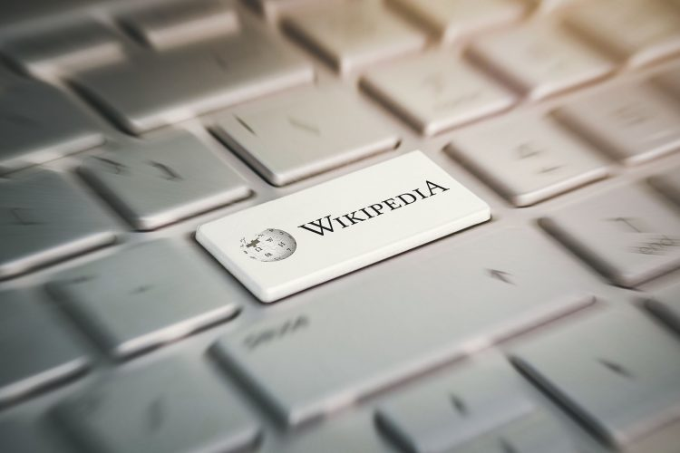 3 June 2018. Barnaul city. Russia. button with the company logo Wikipedia on the grey keyboard of a modern laptop.